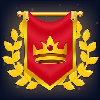 Rote ritterflagge mit krone und lorbeer