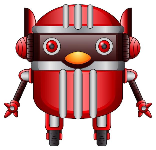 Rote roboterkarikatur auf den rädern