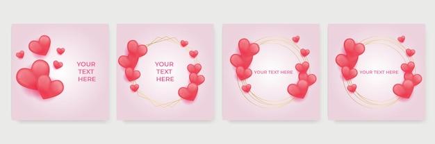 Rote, rosa und weiße herzen lieben schablonensatz. papierschnitt dekorationen für valentinstag banner