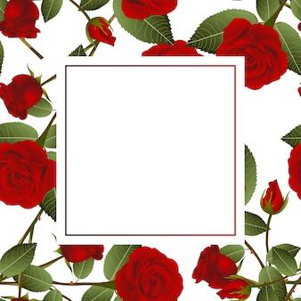 Rote rose auf weißer fahnen-karte