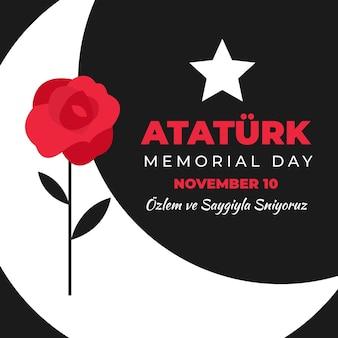 Rote rose für atatürk-gedenktag