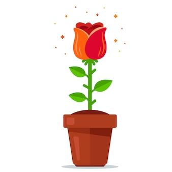 Rote rose in einem topf. blumen in den boden pflanzen. flache vektorillustration.