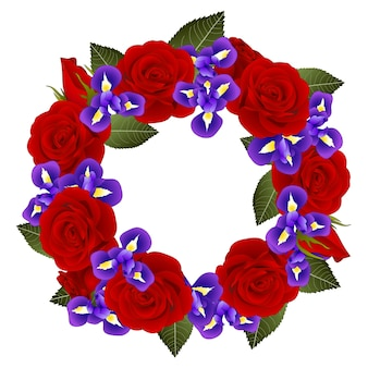 Rote rose und iris blumenkranz