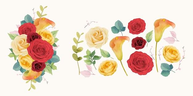 Rote rosen blumen kranz