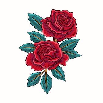 Rote rosen-blumen-vektor