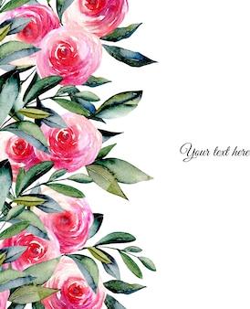 Rote rosen des aquarells und grüne blattkartenschablone