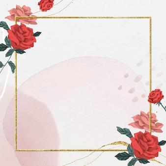 Rote rosen des valentinsgrußes rahmenvektor mit aquarellhintergrund