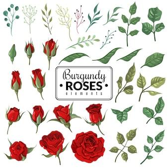 Rote rosen. gartenburgunder rosenblüten, blumensträuße mit knospen und grünen blättern als tapete