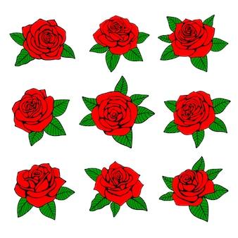 Rote rosen mit grünem blattvektordesign für tätowierung