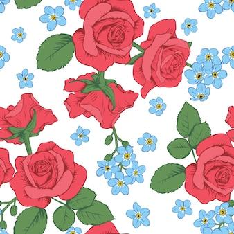 Rote rosen und myosotisblumen auf weißem hintergrund