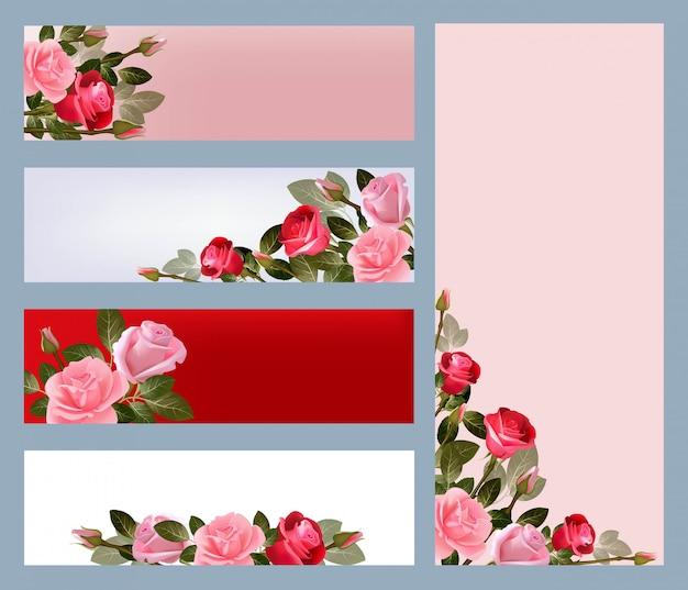 Rote rosenbanner. druckvorlage mit abbildungen von schönen blumenvektorbildern