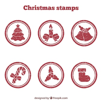 Rote runde weihnachtsstempel