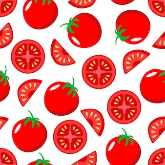 Rote saftige ganze tomaten und scheiben nahtloses muster auf weißem hintergrund