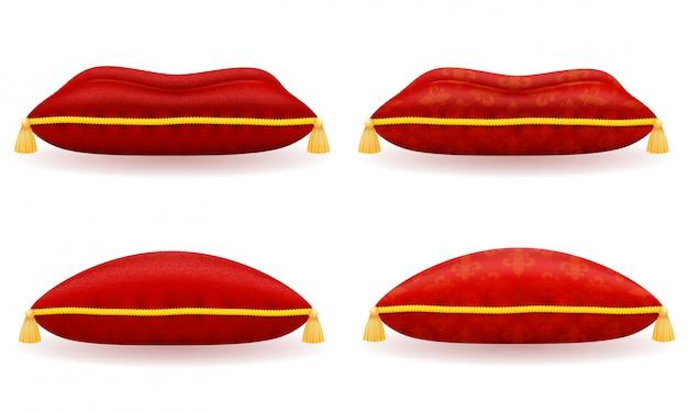 Rote samt- und satinkissenvektorillustration