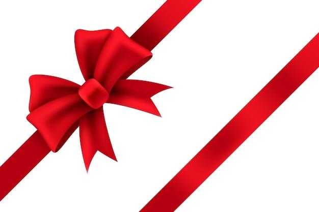 Rote satin-geschenkschleife. paket von weihnachtsgeschenk realistische banddekoration