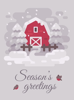 Rote scheune mit bäumen in einer winterlandlandschaft. weihnachtsgrußkarte flach illustrati