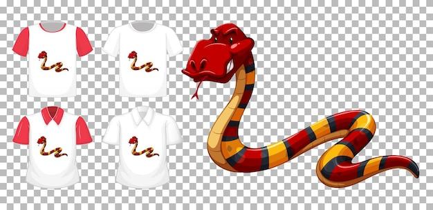Rote schlangenkarikaturfigur mit vielen arten von hemden auf transparentem hintergrund