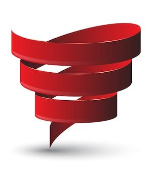 Rote schleife twist. vetor abbildung.