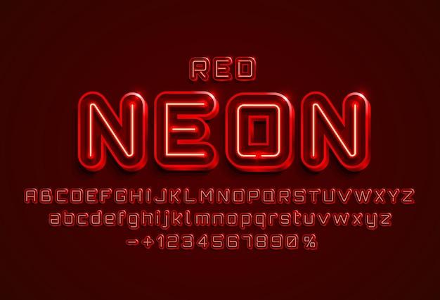 Rote schrift der neonstadtfarbe. englisches alphabet und zahlenzeichen.