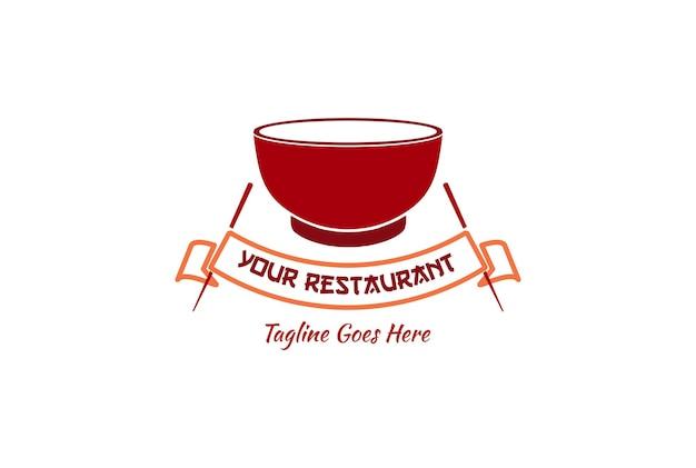 Rote schüssel und essstäbchen für nudel-asiatisch-japanisch-chinesisch-koreanisches orientalisches essen restaurant-logo-design-vektor