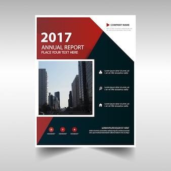 Rote schwarze abstrakte jahresbericht template-design