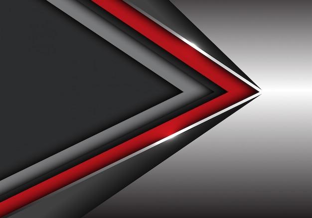 Rote schwarze geschwindigkeitsrichtung auf silber mit dunkelgrauem leerstellehintergrund.