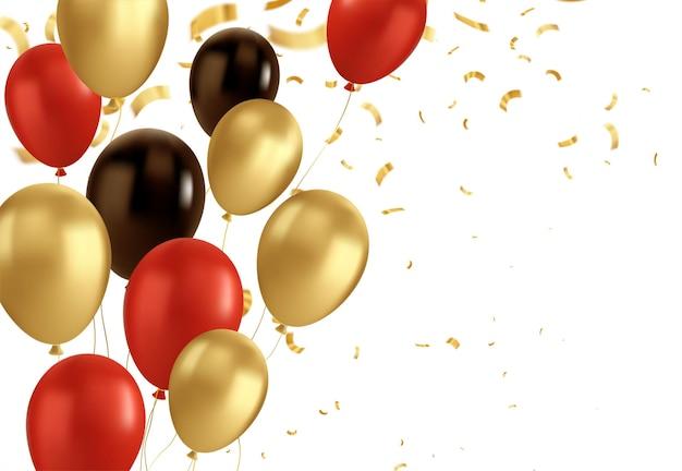 Rote schwarze und goldene luftballons und goldener konfetti-hintergrund