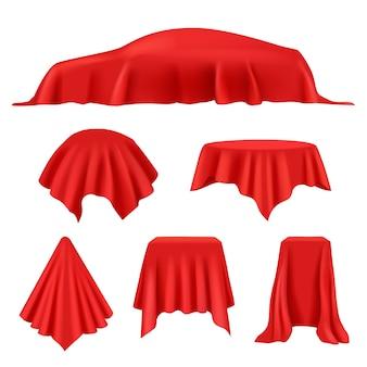 Rote seide bedeckt. revealer stoff realistische ausstellung vorhänge royal cover display vektorsammlung.