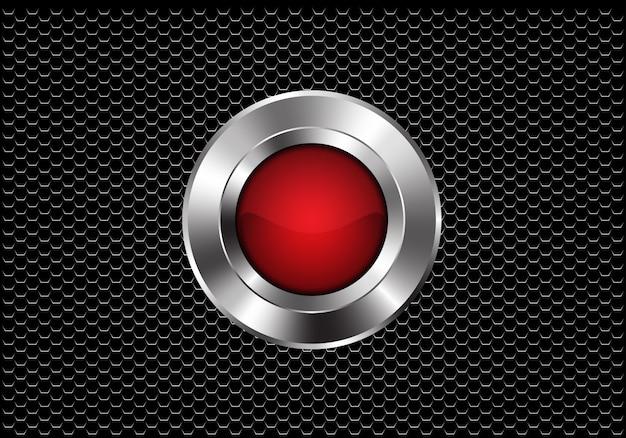 Rote silberne knopfkreisenergie auf dunklem metallischem hexagonmaschenhintergrund.