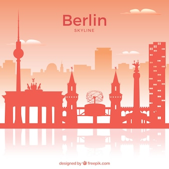 Rote skyline von berlin