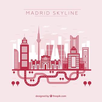 Rote skyline von madrid
