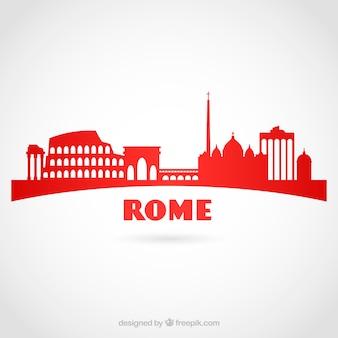 Rote skyline von rom