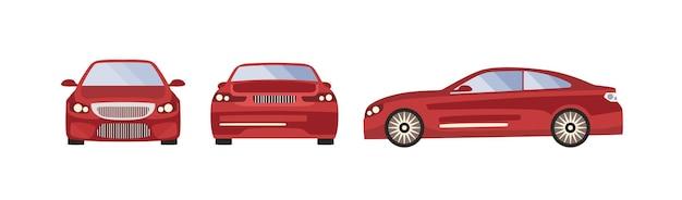 Rote sportwagen-vektor-illustration. satz von drei seitenansichten von der seite, von hinten, von der vorderseite des automobils lokalisiert auf weißem hintergrund. verschiedene vorlage des modernen luxusfahrzeugs.