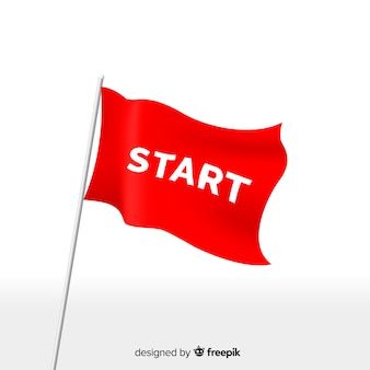 Rote startfahne mit modernem stil