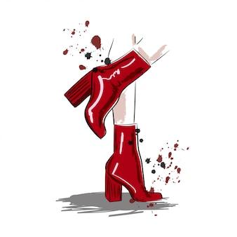 Rote stiefel in der frauenbein-tintenillustration