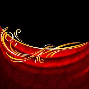 Rote stoffvorhänge auf schwarzem hintergrund, goldene vignette