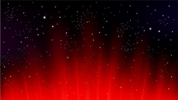 Rote strahlen, die auf dunklen hintergrund steigen
