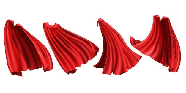 Rote superheldenmäntel gesetzt