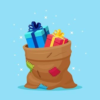 Rote tasche des weihnachtsmanns mit geschenkbox lokalisiert auf hintergrund. weihnachtssack voller geschenke paket