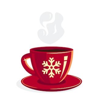 Rote tasse kaffee in der flachen artillustration