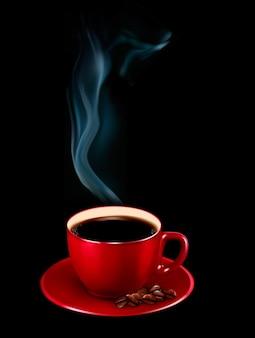 Rote tasse kaffee mit dampf.