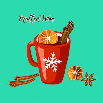 Rote tasse mit glühwein, zimt und anis