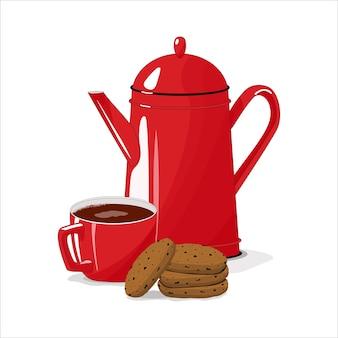Rote tasse mit teekanne. tasse kaffee und kekse. frühstück.