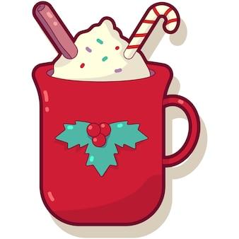 Rote tasse vektor-cartoon-illustration isoliert auf weißem hintergrund.