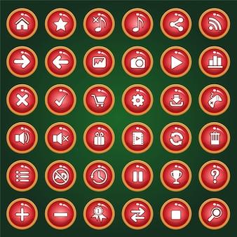 Rote taste icon set farbe rotes licht für spiele