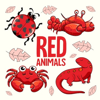 Rote tiere cartoon marienkäfer hummer krabben molch