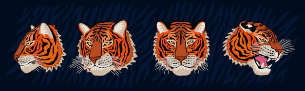 Rote tigerkopf brüllen wilde katze im bunten dschungel. tiger streifen hintergrundzeichnung. gezeichnete charakterkunstillustration