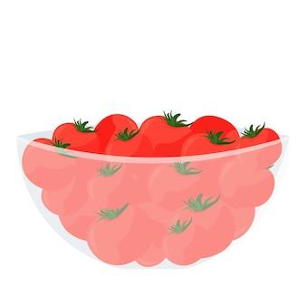 Rote tomaten in einer schüssel cartoon-vektor-illustration auf weißem hintergrund