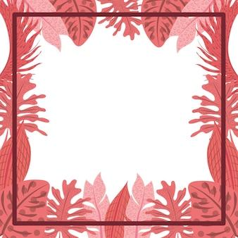 Rote tropische palmblätter und schwarzer rahmen