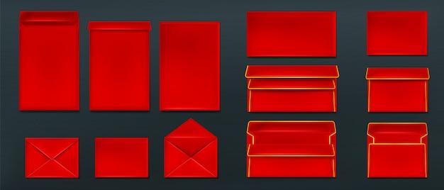 Rote umschläge, leere papierabdeckungen schablonensatz